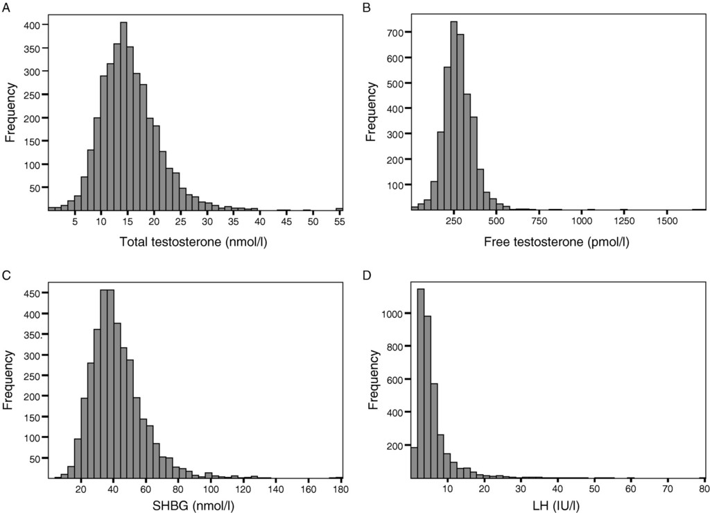 In men older than 70 years, total testosterone remains stable while